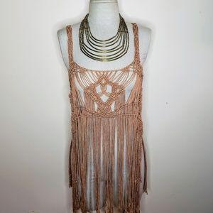 NWT Miss Me Crochet Fringe Festival Cover Up Shirt